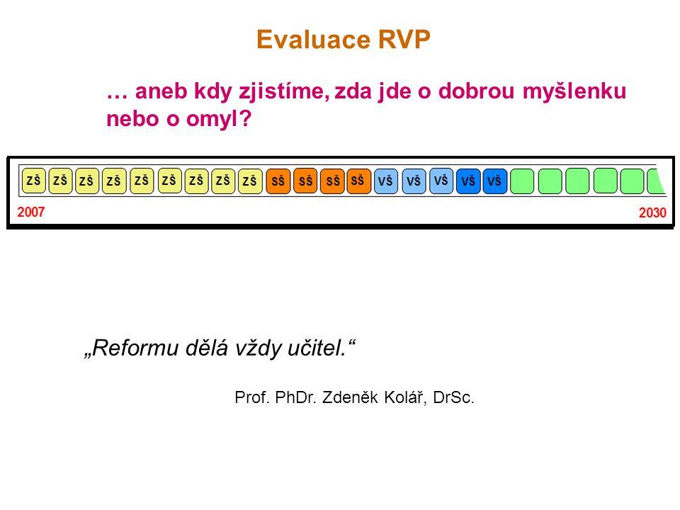 """Evaluace RVP … aneb kdy zjistíme, zda jde o dobrou myšlenku nebo o omyl? """"Reformu dělá vždy učitel."""" Prof. PhDr. Zdeněk Kolář, DrSc."""