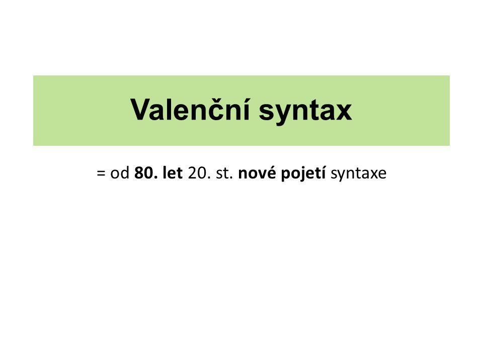 Valenční syntax = od 80. let 20. st. nové pojetí syntaxe