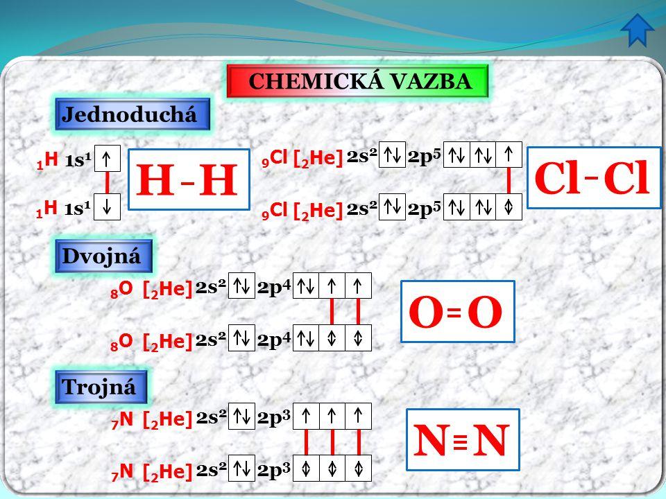 N Cl CHEMICKÁ VAZBA Jednoduchá Dvojná Trojná 8O8O [ 2 He] 2s 2 2p 4 8O8O [ 2 He] 2s 2 2p 4 1H1H 1s 1 1H1H 7N7N [ 2 He] 2s 2 2p 3 7N7N [ 2 He] 2s 2 2p
