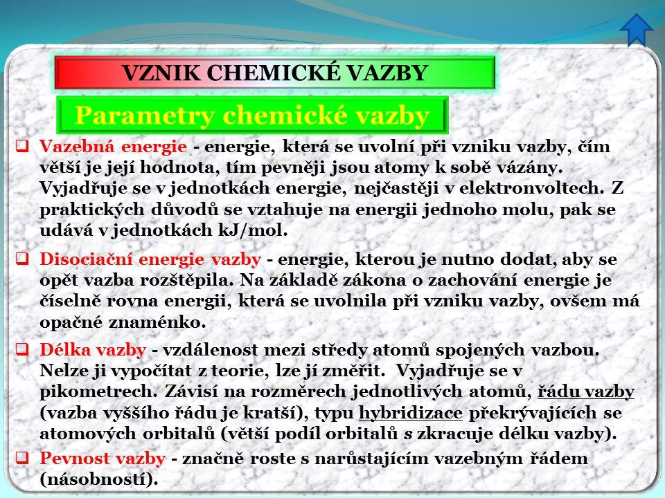 VZNIK CHEMICKÉ VAZBY Parametry chemické vazby  Vazebná energie - energie, která se uvolní při vzniku vazby, čím větší je její hodnota, tím pevněji js