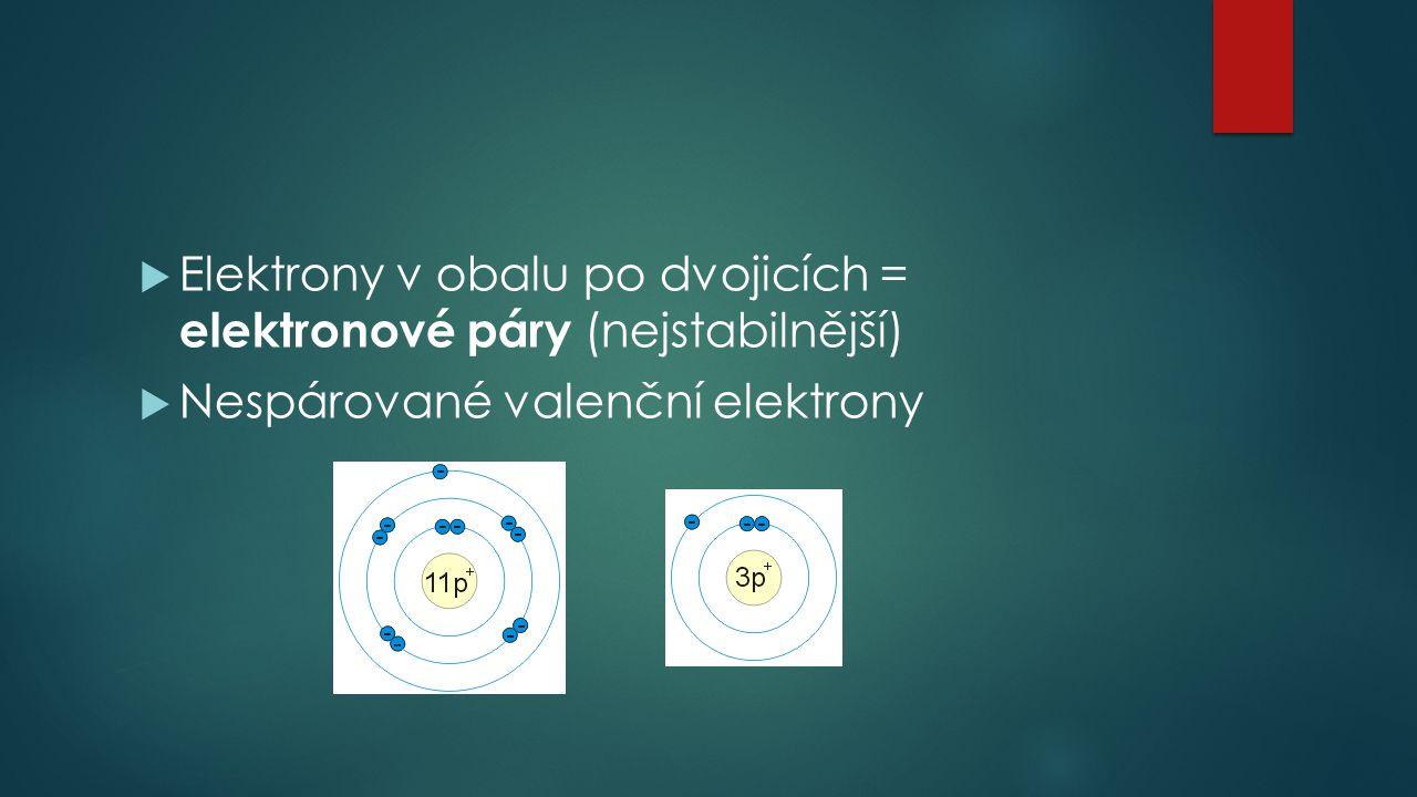  Elektrony v obalu po dvojicích = elektronové páry (nejstabilnější)  Nespárované valenční elektrony