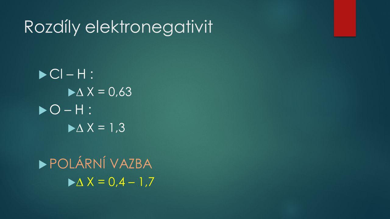 Rozdíly elektronegativit  Cl – H :   X = 0,63  O – H :   X = 1,3  POLÁRNÍ VAZBA   X = 0,4 – 1,7