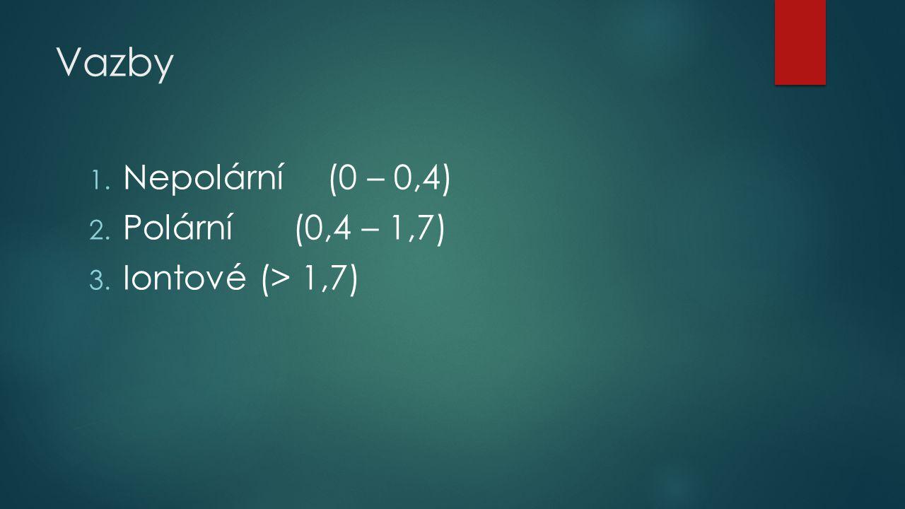 Vazby 1. Nepolární (0 – 0,4) 2. Polární (0,4 – 1,7) 3. Iontové (> 1,7)