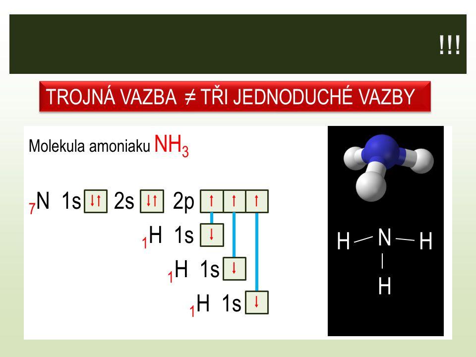Molekula amoniaku NH 3 7 N 1s 2s 2p 1 H 1s F   TROJNÁ VAZBA ≠ TŘI JEDNODUCHÉ VAZBY    N H H H