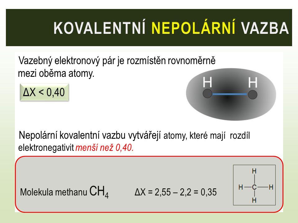 Vazebný elektronový pár je rozmístěn rovnoměrně mezi oběma atomy. Nepolární kovalentní vazbu vytvářejí atomy, které mají rozdíl elektronegativit menší