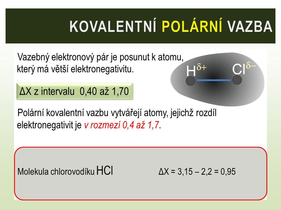 Vazebný elektronový pár je posunut k atomu, který má větší elektronegativitu. Polární kovalentní vazbu vytvářejí atomy, jejichž rozdíl elektronegativi