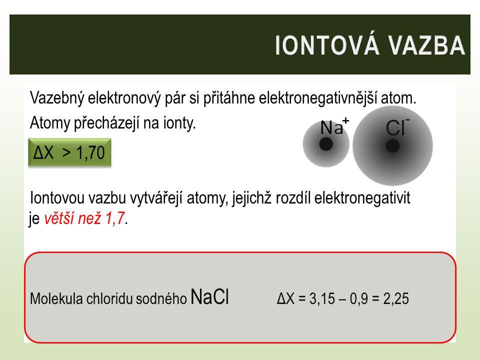 Vazebný elektronový pár si přitáhne elektronegativnější atom. Atomy přecházejí na ionty. Iontovou vazbu vytvářejí atomy, jejichž rozdíl elektronegativ