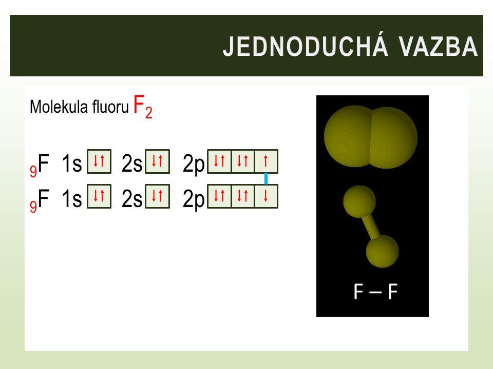 Molekula fluoru F 2 9 F 1s 2s 2p    F F – F