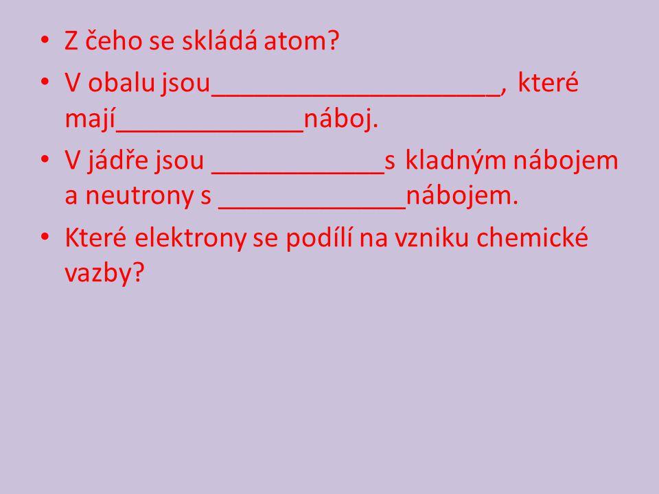 Z čeho se skládá atom? V obalu jsou____________________, které mají_____________náboj. V jádře jsou ____________s kladným nábojem a neutrony s _______