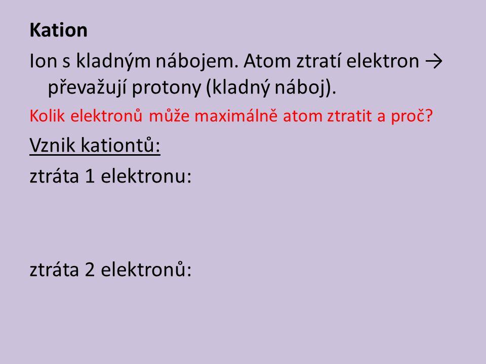 Kation Ion s kladným nábojem. Atom ztratí elektron → převažují protony (kladný náboj). Kolik elektronů může maximálně atom ztratit a proč? Vznik katio