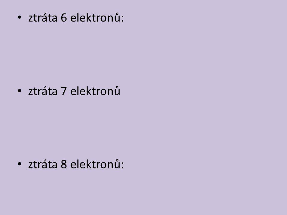 ztráta 6 elektronů: ztráta 7 elektronů ztráta 8 elektronů:
