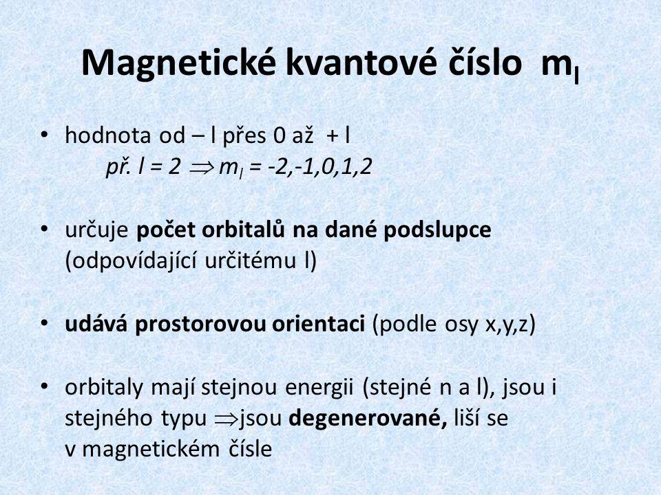 Magnetické kvantové číslo m l hodnota od – l přes 0 až + l př. l = 2  m l = -2,-1,0,1,2 určuje počet orbitalů na dané podslupce (odpovídající určitém