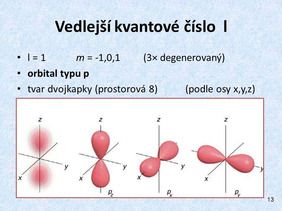 Vedlejší kvantové číslo l l = 1 m = -1,0,1 (3× degenerovaný) orbital typu p tvar dvojkapky (prostorová 8) (podle osy x,y,z) 13