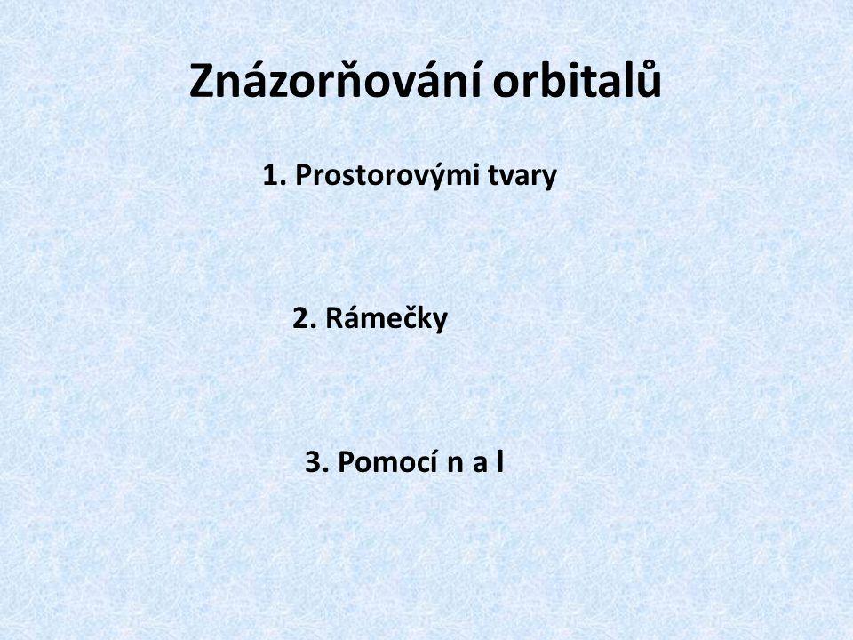 Znázorňování orbitalů 1. Prostorovými tvary 2. Rámečky 3. Pomocí n a l