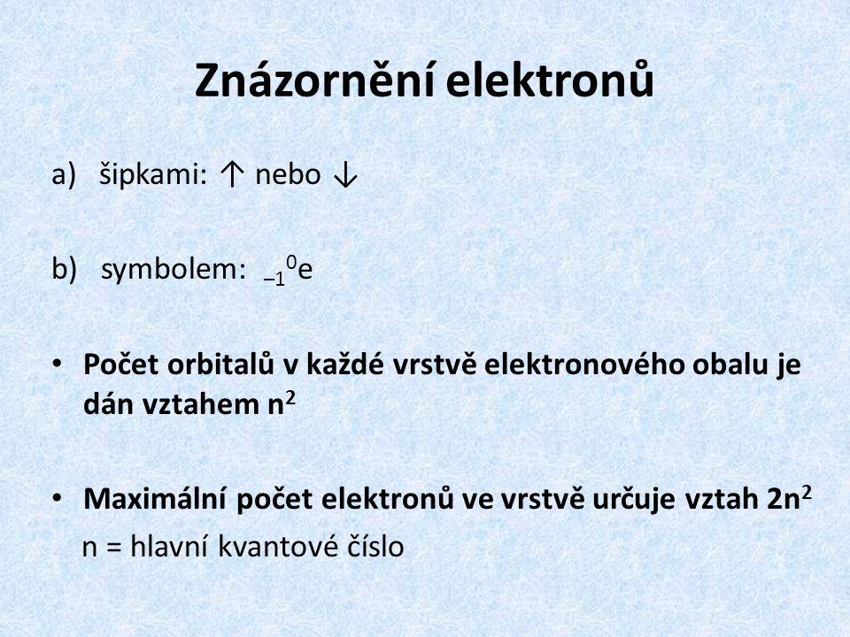 Znázornění elektronů a)šipkami: ↑ nebo ↓ b) symbolem: –1 0 e Počet orbitalů v každé vrstvě elektronového obalu je dán vztahem n 2 Maximální počet elek