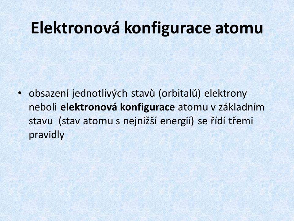 Elektronová konfigurace atomu obsazení jednotlivých stavů (orbitalů) elektrony neboli elektronová konfigurace atomu v základním stavu (stav atomu s ne