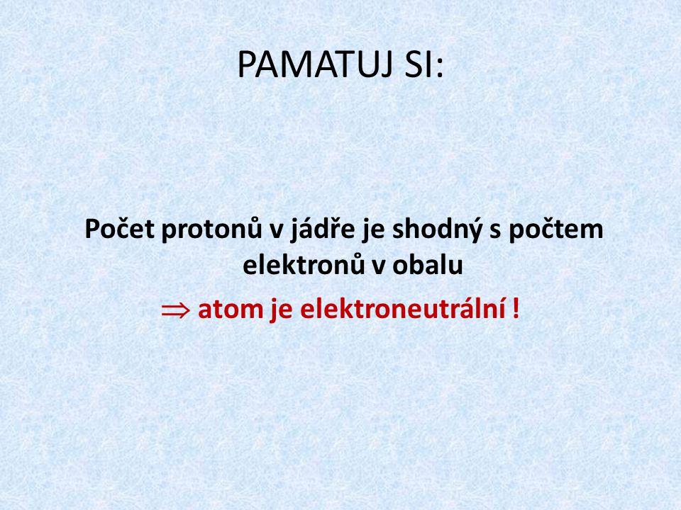 PAMATUJ SI: Počet protonů v jádře je shodný s počtem elektronů v obalu  atom je elektroneutrální !