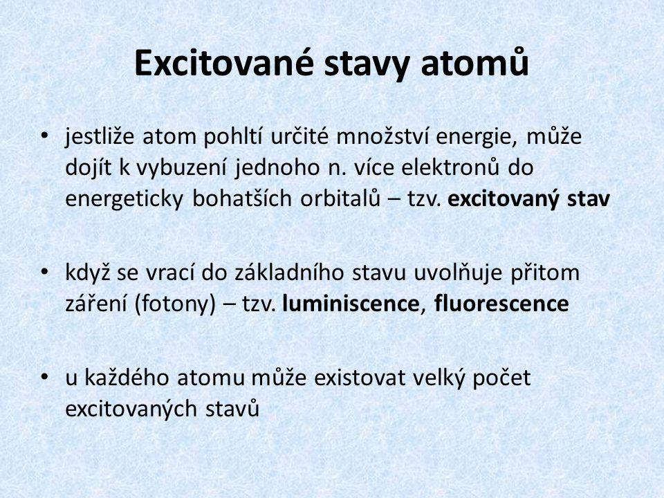 Excitované stavy atomů jestliže atom pohltí určité množství energie, může dojít k vybuzení jednoho n. více elektronů do energeticky bohatších orbitalů