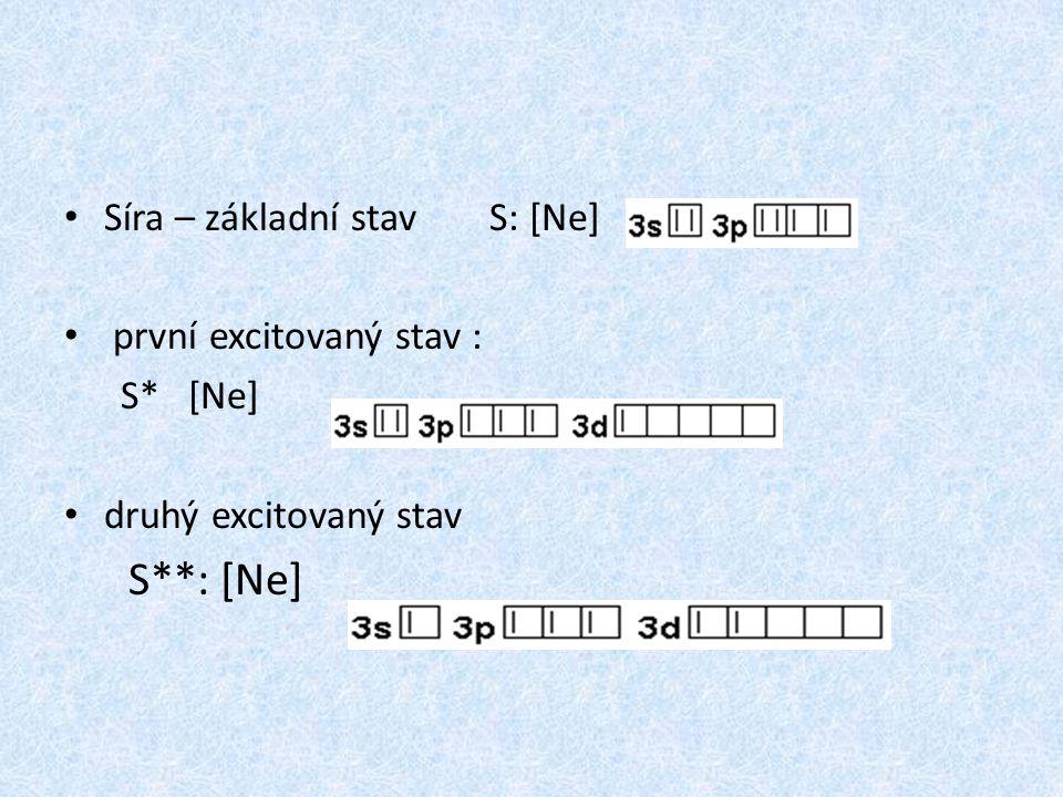 Síra – základní stavS: [Ne] první excitovaný stav : S* [Ne] druhý excitovaný stav S**: [Ne]
