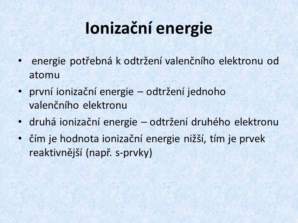 Ionizační energie energie potřebná k odtržení valenčního elektronu od atomu první ionizační energie – odtržení jednoho valenčního elektronu druhá ioni