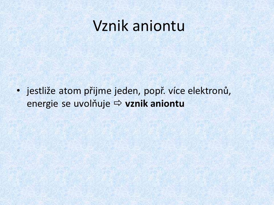 Vznik aniontu jestliže atom přijme jeden, popř. více elektronů, energie se uvolňuje  vznik aniontu
