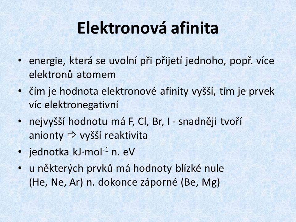 Elektronová afinita energie, která se uvolní při přijetí jednoho, popř. více elektronů atomem čím je hodnota elektronové afinity vyšší, tím je prvek v