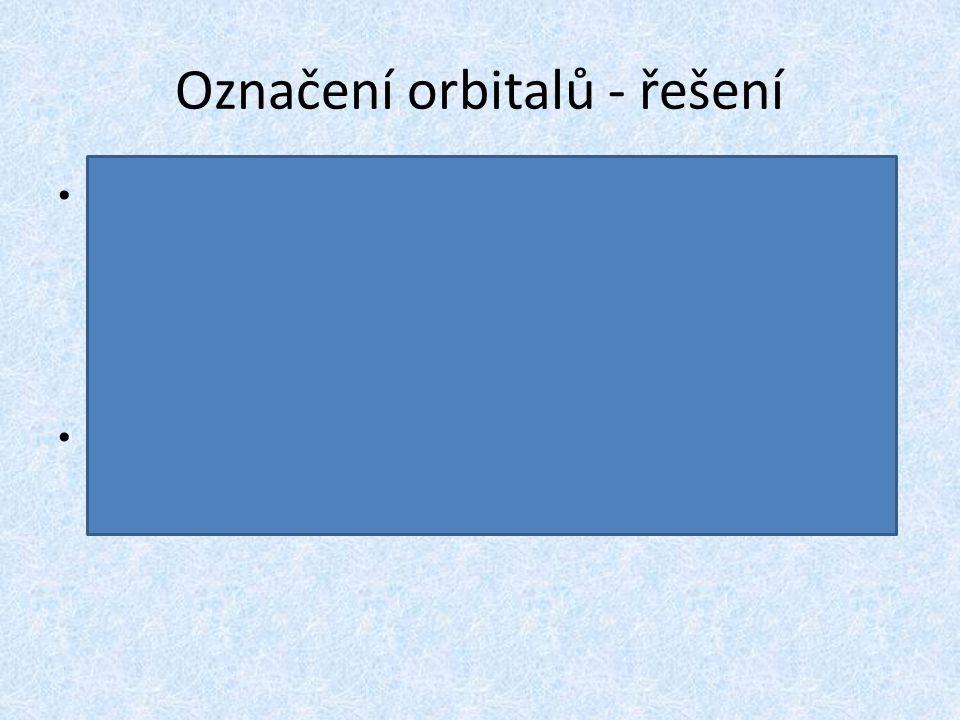 """Označení orbitalů - řešení Označení orbitalů s, p, d, f má původ v označení odpovídajících čar ve spektrech """"sharp"""" (ostrá), """"principal"""" (hlavní), """"di"""