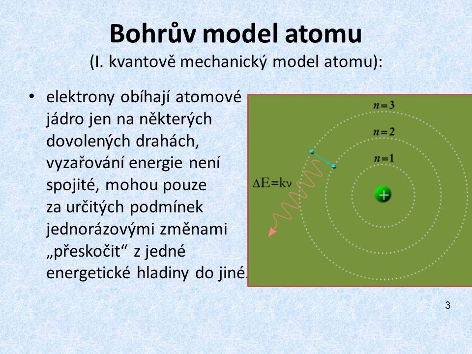 Bohrův model atomu (I. kvantově mechanický model atomu): elektrony obíhají atomové jádro jen na některých dovolených drahách, vyzařování energie není