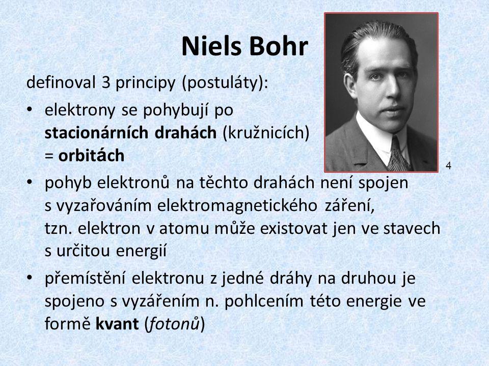 Niels Bohr definoval 3 principy (postuláty): elektrony se pohybují po stacionárních drahách (kružnicích) = orbit á ch pohyb elektronů na těchto drahác