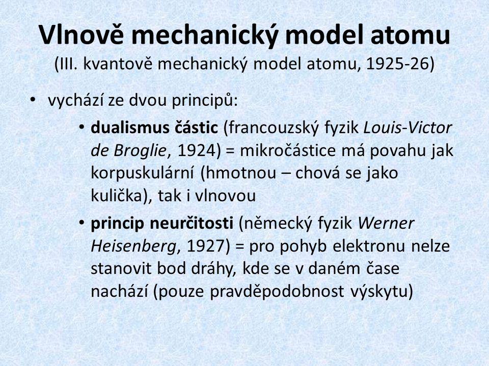 Vlnově mechanický model atomu (III. kvantově mechanický model atomu, 1925-26) vychází ze dvou principů: dualismus částic (francouzský fyzik Louis-Vict