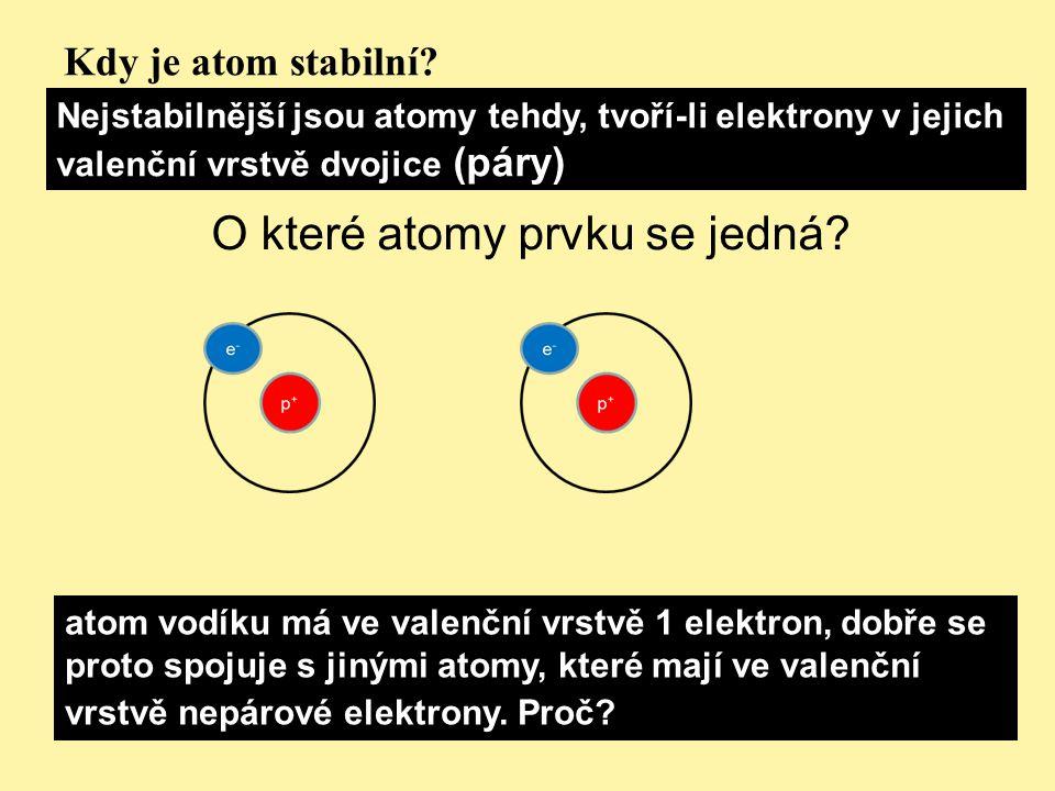 Kdy je atom stabilní? Nejstabilnější jsou atomy tehdy, tvoří-li elektrony v jejich valenční vrstvě dvojice (páry) O které atomy prvku se jedná? atom v