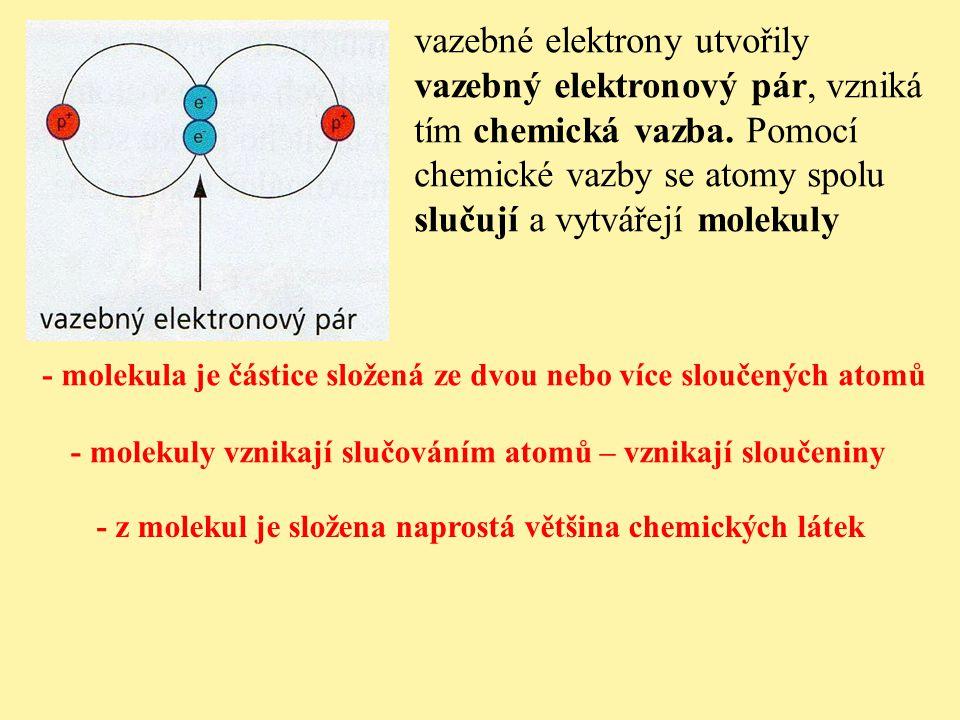 vazebné elektrony utvořily vazebný elektronový pár, vzniká tím chemická vazba. Pomocí chemické vazby se atomy spolu slučují a vytvářejí molekuly - mol