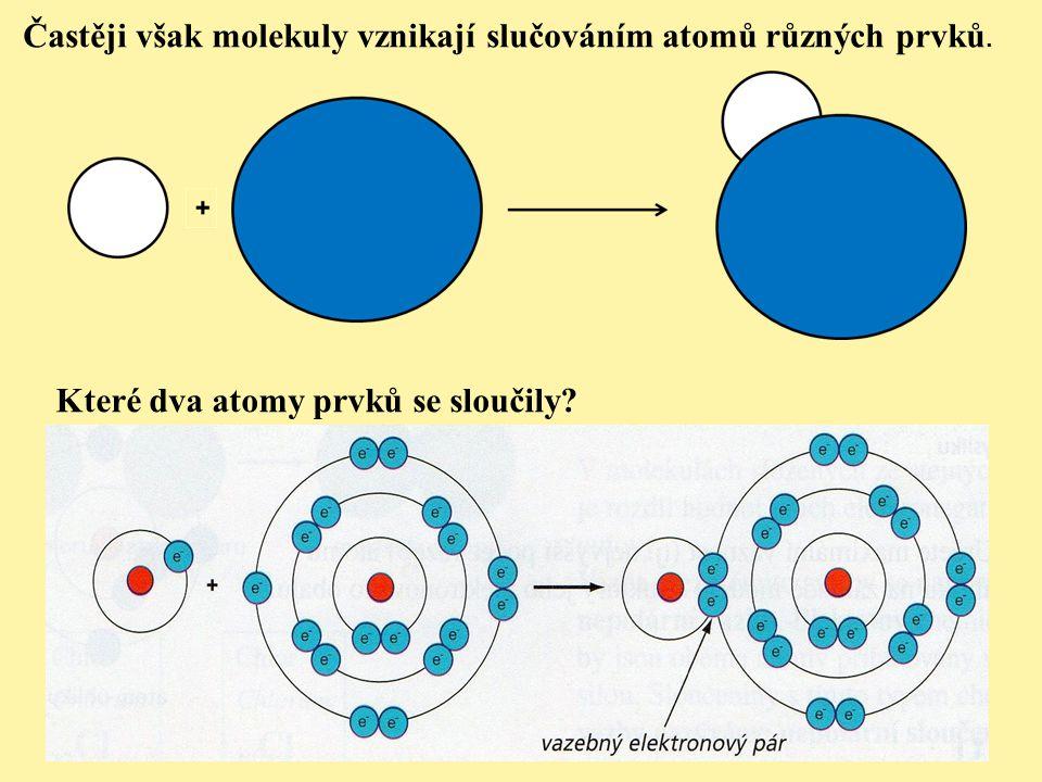 Častěji však molekuly vznikají slučováním atomů různých prvků. Které dva atomy prvků se sloučily?