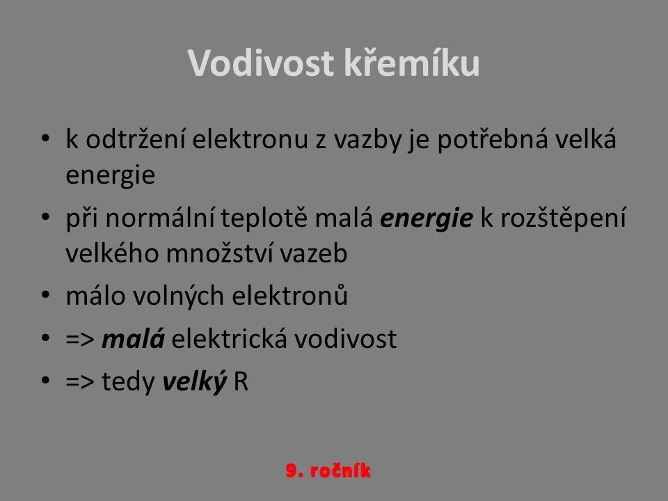 Vodivost křemíku k odtržení elektronu z vazby je potřebná velká energie při normální teplotě malá energie k rozštěpení velkého množství vazeb málo vol
