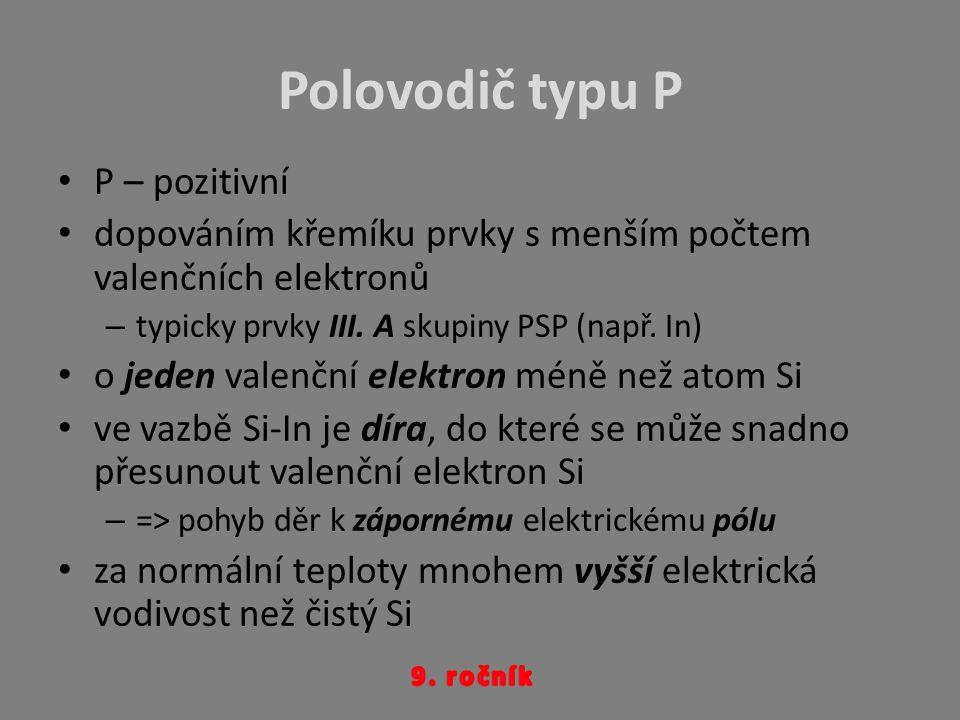Polovodič typu P P – pozitivní dopováním křemíku prvky s menším počtem valenčních elektronů –t–typicky prvky III. A skupiny PSP (např. In) o jeden val