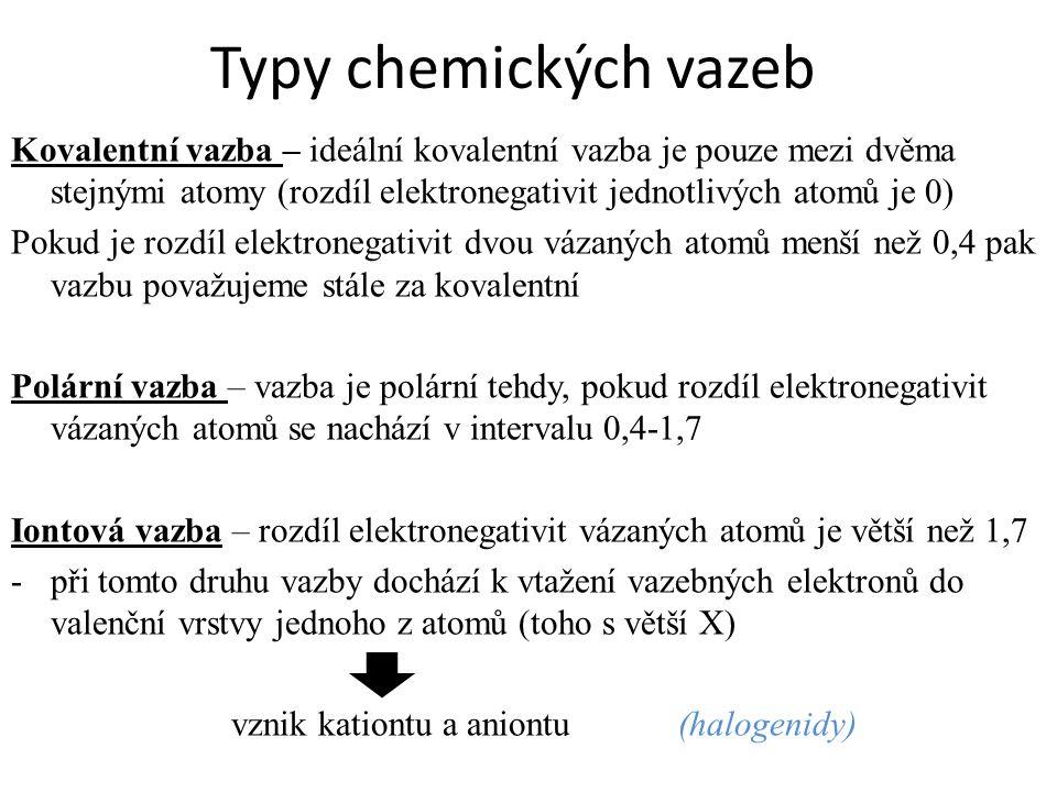 Typy chemických vazeb Kovalentní vazba – ideální kovalentní vazba je pouze mezi dvěma stejnými atomy (rozdíl elektronegativit jednotlivých atomů je 0)
