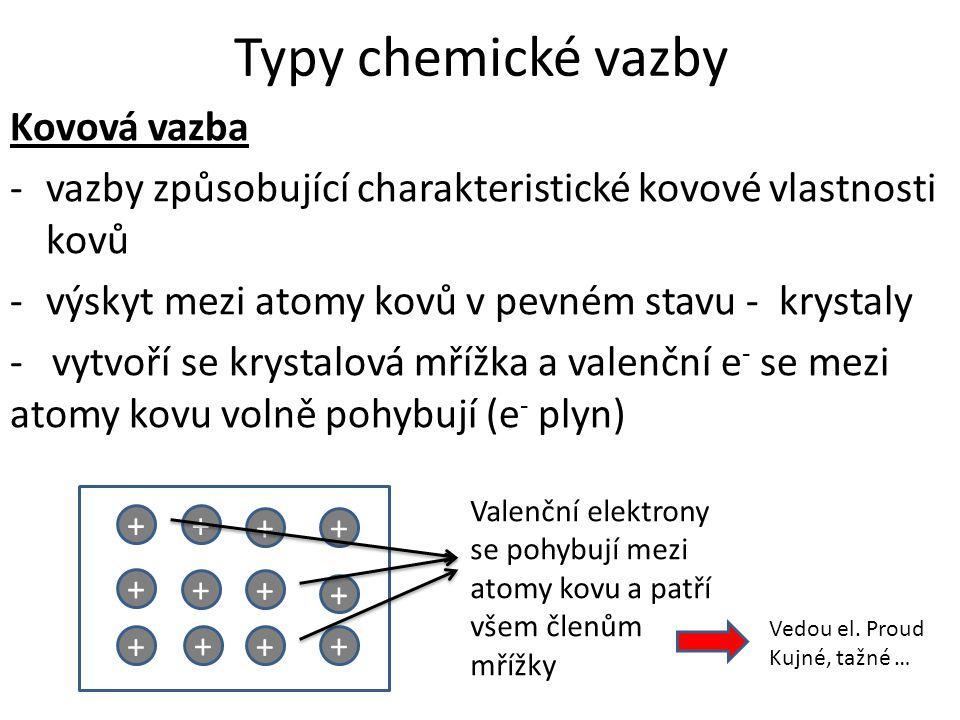 Typy chemické vazby Kovová vazba -vazby způsobující charakteristické kovové vlastnosti kovů -výskyt mezi atomy kovů v pevném stavu - krystaly - vytvoř