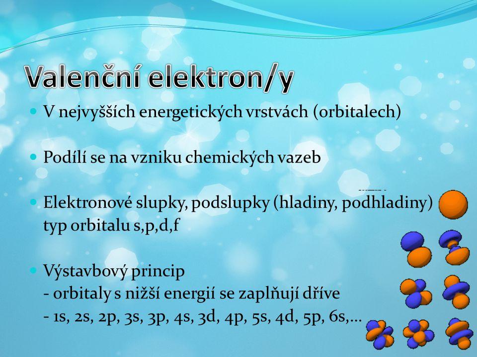 V nejvyšších energetických vrstvách (orbitalech) Podílí se na vzniku chemických vazeb Elektronové slupky, podslupky (hladiny, podhladiny) typ orbitalu