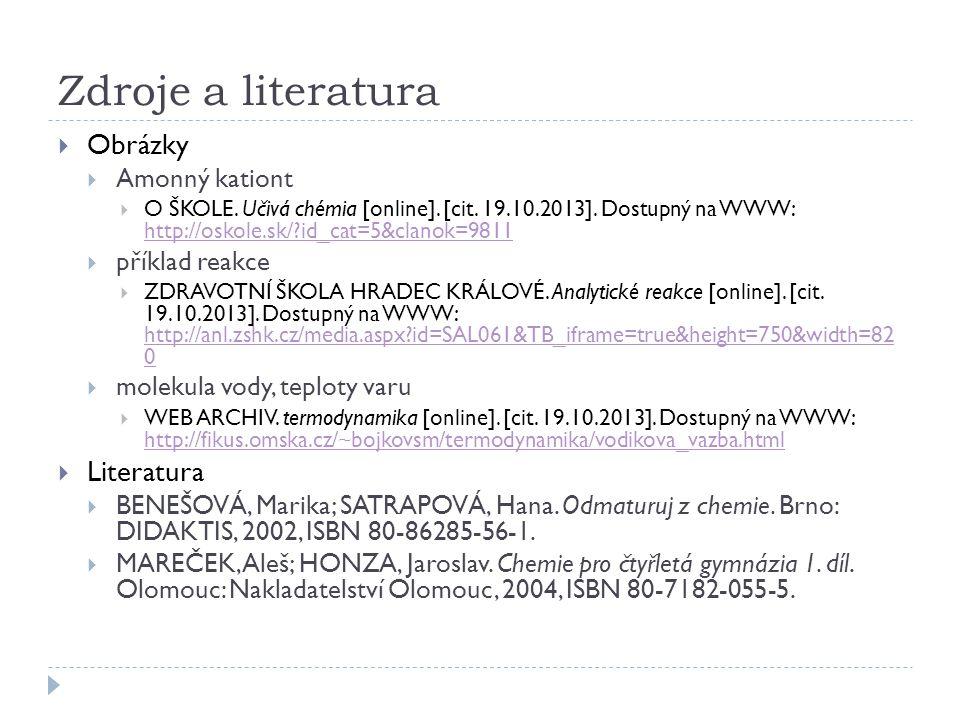 Zdroje a literatura  Obrázky  Amonný kationt  O ŠKOLE.
