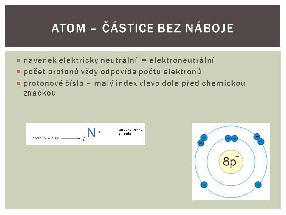  navenek elektricky neutrální = elektroneutrální  počet protonů vždy odpovídá počtu elektronů  protonové číslo – malý index vlevo dole před chemick