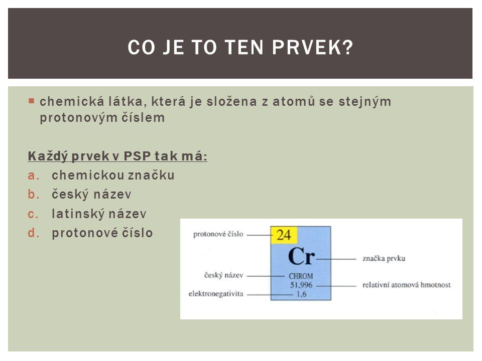  chemická látka, která je složena z atomů se stejným protonovým číslem Každý prvek v PSP tak má: a.chemickou značku b.český název c.latinský název d.