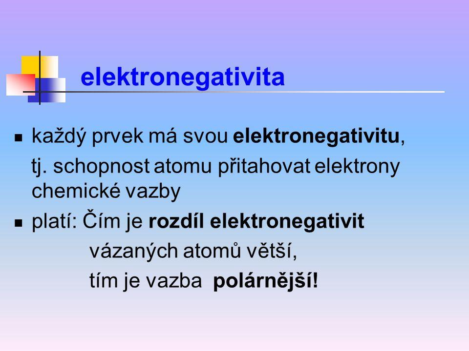 každý prvek má svou elektronegativitu, tj. schopnost atomu přitahovat elektrony chemické vazby platí: Čím je rozdíl elektronegativit vázaných atomů vě