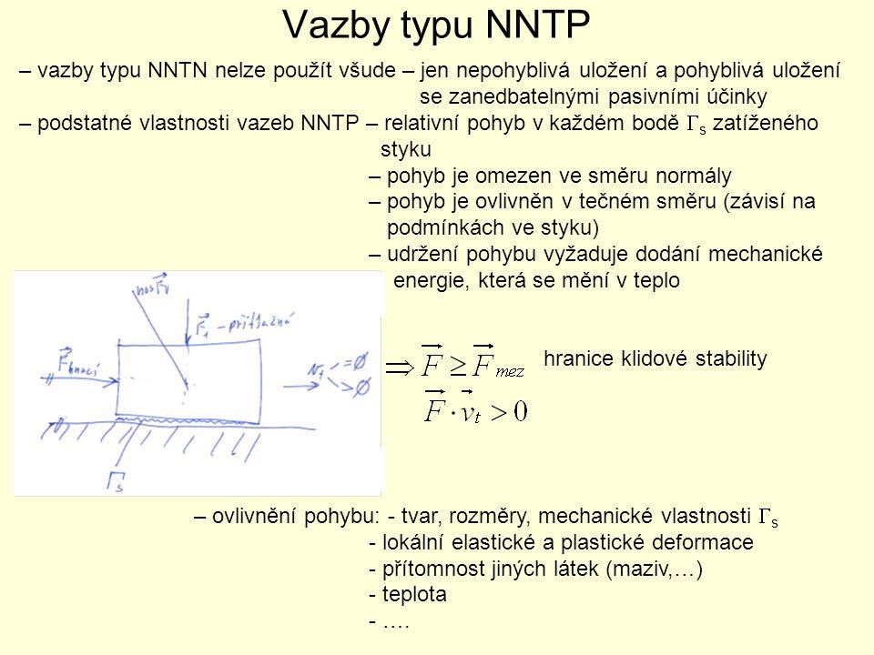 Vazby typu NNTP – vazby typu NNTN nelze použít všude – jen nepohyblivá uložení a pohyblivá uložení se zanedbatelnými pasivními účinky – podstatné vlas