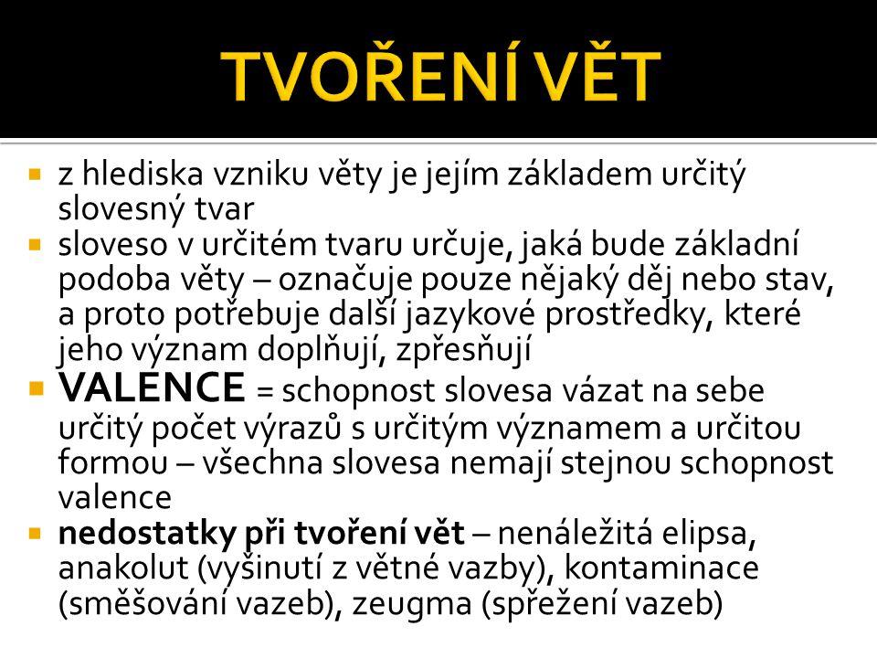  je tvořena slovesem v přísudku a jeho valenčními členy = ZÁKLADOVÉ ČLENY :  NUTNÉ – nemůžeme je z věty vypustit, protože b to nebyla správně utvořená česká věta, např.