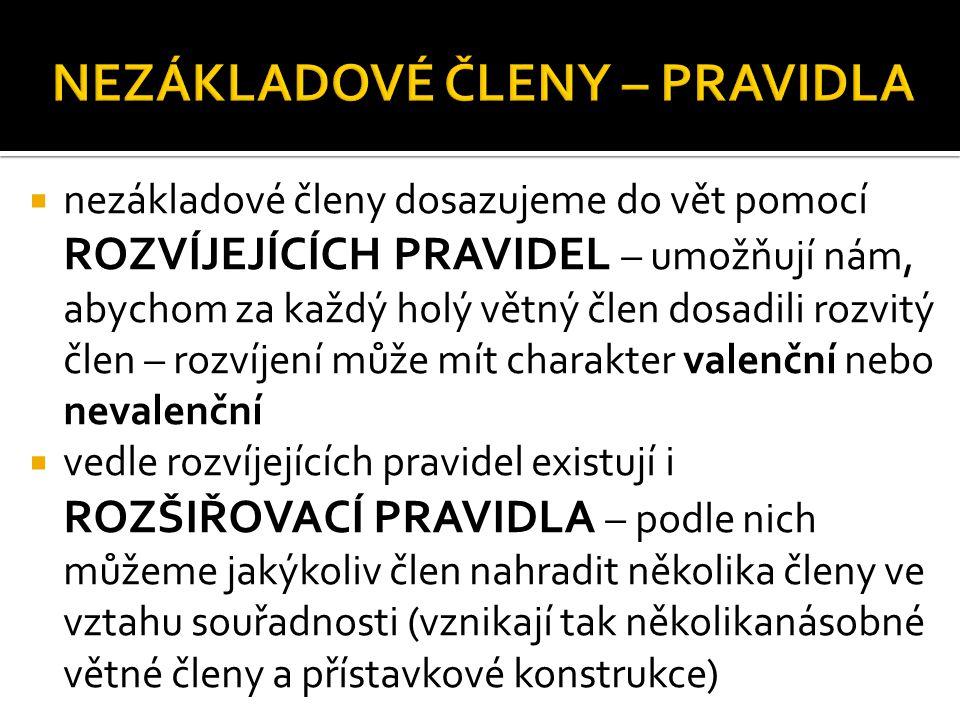  pořadí slov v české výpovědi je do značné míry volné, není však libovolné – uspořádání slov v české větě ovlivňují: a) VÝZNAMOVÝ ČINITEL = aktuální členění, v souvislém jazykovém projevu musí jednotlivé výpovědi na sebe navazovat – rozlišujeme VÝCHODISKO (co je známé ze souvislosti nebo ze situace) a JÁDRO (co je neznámé, nové, nejdůležitější) – objektivní pořádek slov ( V – J ), subjektivní pořádek slov ( J – V ), např.
