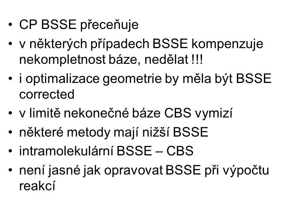 CP BSSE přeceňuje v některých případech BSSE kompenzuje nekompletnost báze, nedělat !!! i optimalizace geometrie by měla být BSSE corrected v limitě n