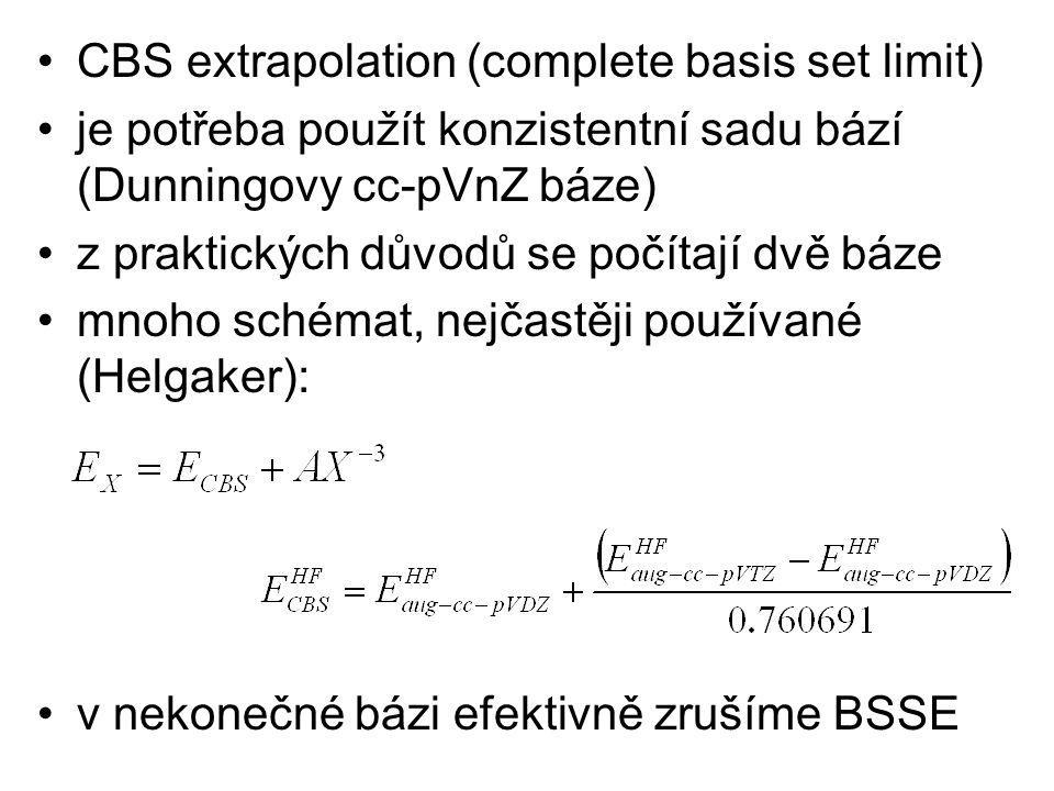 CBS extrapolation (complete basis set limit) je potřeba použít konzistentní sadu bází (Dunningovy cc-pVnZ báze) z praktických důvodů se počítají dvě báze mnoho schémat, nejčastěji používané (Helgaker): v nekonečné bázi efektivně zrušíme BSSE