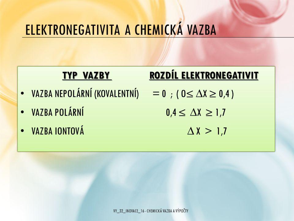 ELEKTRONEGATIVITA A CHEMICKÁ VAZBA TYP VAZBY ROZDÍL ELEKTRONEGATIVIT VAZBA NEPOLÁRNÍ (KOVALENTNÍ) = 0 ; ( O≤ ∆X ≥ 0,4 ) VAZBA POLÁRNÍ 0,4 ≤ ∆X ≥ 1,7 V