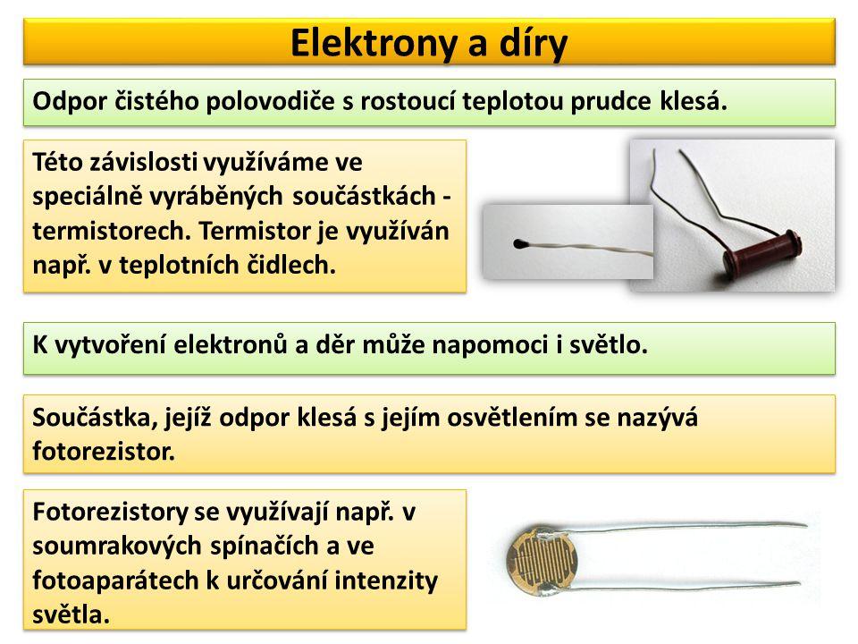 Elektrony a díry Odpor čistého polovodiče s rostoucí teplotou prudce klesá.