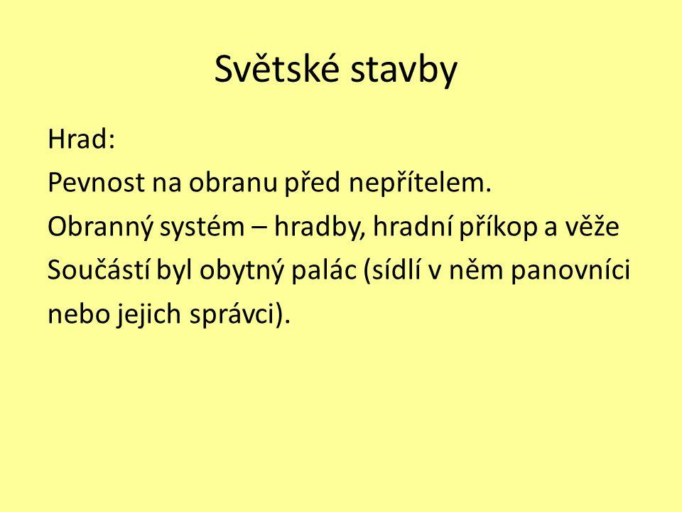 Světské stavby Hrad: Pevnost na obranu před nepřítelem.
